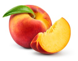 Peach isolate. Peach slice. Peach with leaf on white background. Full depth of field. With clipping path.