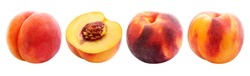 Peach isolated on white background, collection of ripe whole and sliced peaches with clipping path