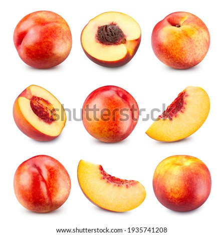 Peach isolated on white background. Peach and half fruit. Fresh peach fruits. Peach collection Clipping Path.