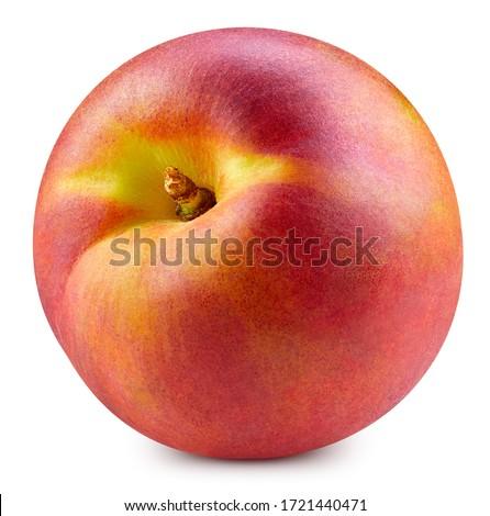 Peach isolated on white background. Peach fruit clipping path. Peach macro studio photo