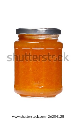 Peach jam glass jar reflected on white background