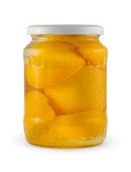 Peach jam in glass jar isolated with clipping path.