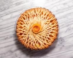 peach pie with spiral lattice design