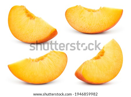 Peach slice isolated. Peach set on white background. Peaches collection. With clipping path.