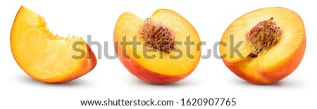 Peach slice isolated. Peach set. Peaches on white background. Collection. With clipping path.