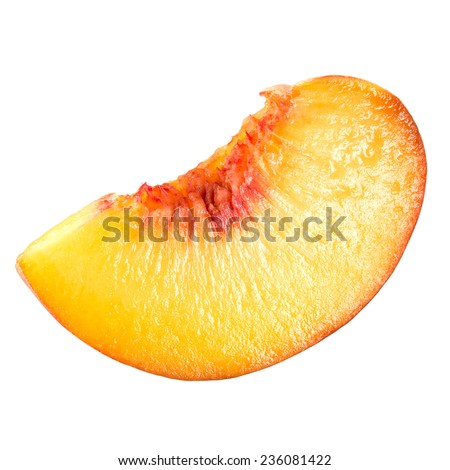 Peach. Slice of fruit isolated on white.