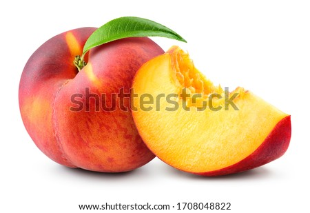 Peach with slice on white background. Peach isolate. Full depth of field. With clipping path.