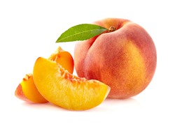 Peach with slices in closeup