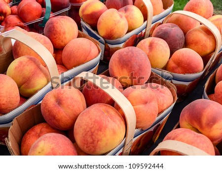 Peaches on sale at farmers market