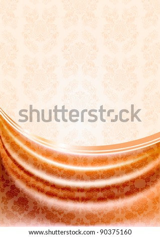 Peachy curtain, silk tissue on beige background. Bitmap copy my vector ID 89760829