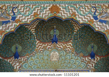 Peacock architectural detail, Jaipur, India