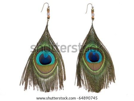 Peacock feather earrings on a white background