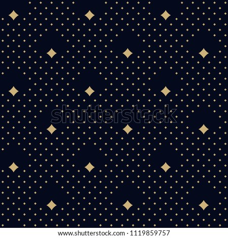 Peacock feather motif simple geometric design ditzy allover ornament. Dot diamond print block for apparel textile, dress fabric, phone case. Black blue seamless background. Look the same 1328766671.