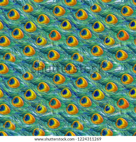 peacock feather seamless pattern.