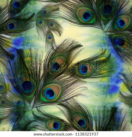Peacock feathers on watercolor background. A collage of feathers on the background of watercolors. Seamless pattern. A collage of feathers. Repeating pattern of feathers.