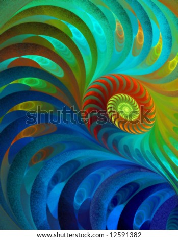 Peacock Rainbow Spiral - Fractal Design
