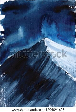 """Peak """"Hidden Peak"""", Himalayas, watercolors, snowy peaks"""