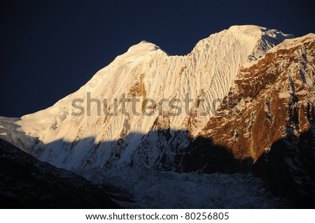Peak in Himalaya in sunrise light, Nepal