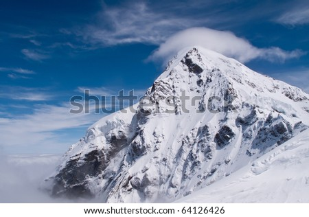 Peak of Jungfraujoch in Swiss Alps