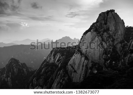 Peak of Lotus Peak (Lian Hua Feng) in Mountain Huang, Anhui Province, China. Black & White.