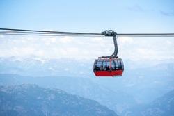 Peak to Peak gondola in Whistler mountains, Vancouver BC, Canada
