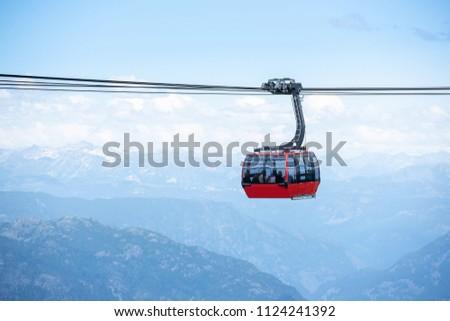 Peak to Peak gondola in Whistler mountains, Vancouver BC, Canada #1124241392