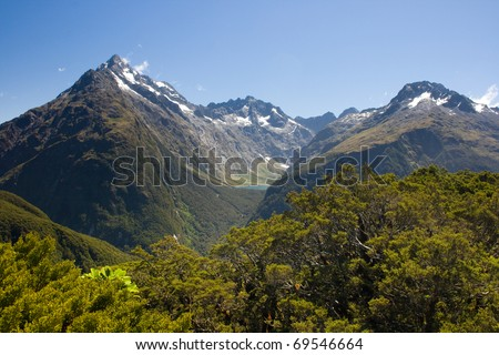 Peaks above mountain forest