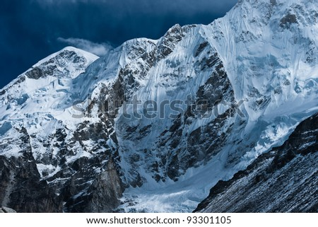 Peaks near Gorak shep and Everest base camp in Himalayas. Altitude 5100 m