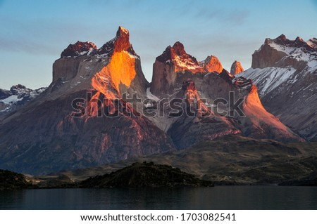 Photo of  Peaks of Cuernos del Paine at sunrise at Torres del Paine national park, patagonia, Chile