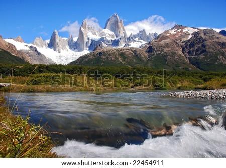 peaks of fitz roy mountain - stock photo