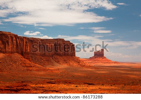 Peaks of rock formations in the Navajo Park of Monument Valley Utah