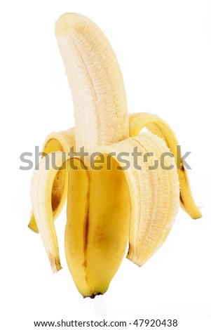 Pealed banana on white