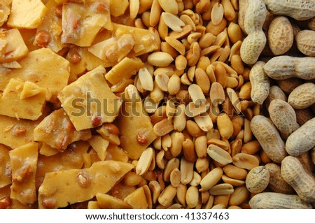 Peanut brittle and nuts in the shell and out.