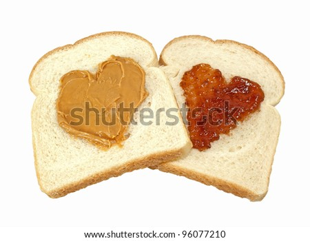 Peanut Butter And Jelly Love-Two slices of bread with hearts of peanut butter and jelly isolated on a white background