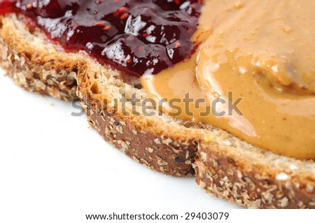 Peanut butter and jelly on multigrain toast