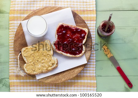 peanut butter and jelly sandwich with glass of milk, overhead perspective