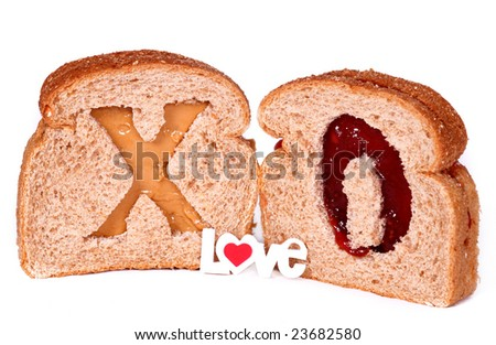 Peanut Butter And Jelly Sandwiches With The Word Love And Red Heart ...