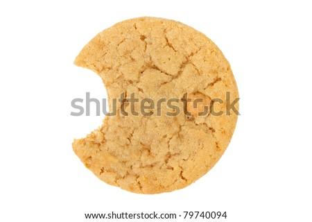 Peanut Butter Cookie with Bite Isolated on a White Background