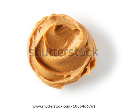 peanut butter isolated on white background, top view #1085466761