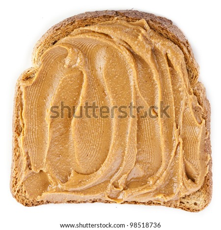 peanut butter sandwich and peanuts on white background