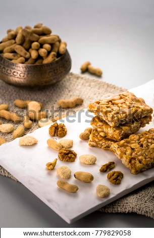 peanut chikki, sesame candy and roasted groundnuts
