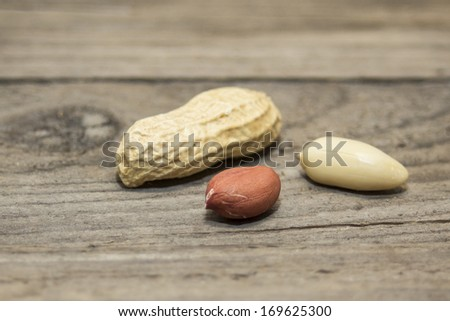Peanut Closeup on a wooden background