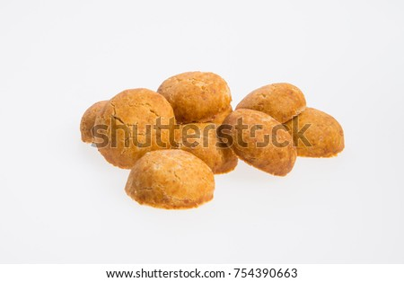 Peanut Cookies or Rounded Peanut Cookies on a background #754390663