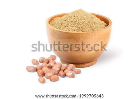 Peanut powder in wooden bowl isolted on white background. Stock photo ©