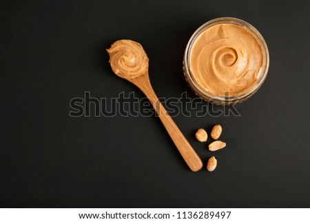Peanuts and Fresh Peanut Butter Isoalted Black Background Protein Super Food Snack #1136289497