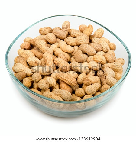 peanuts in a bowl isolated on white background
