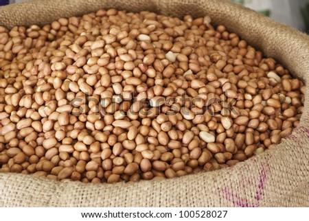 peanuts in canvas bag.