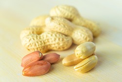 Peanuts on a woodend table