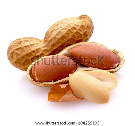 Peanuts on white ground