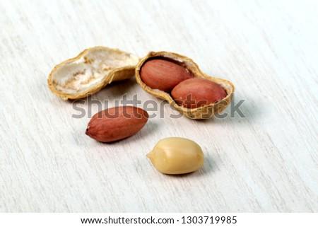 Peanuts. Roasted nuts. Full depth of field. - Image